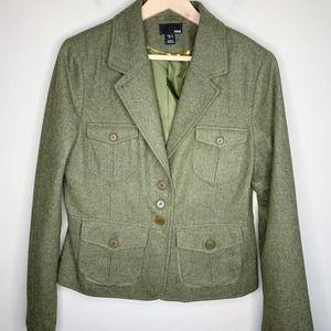 H&M Wool Olive Three Button Utility Blazer 14